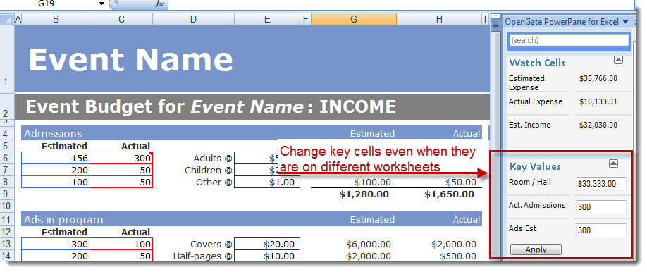 Key Values changed in the Excel PowerPane