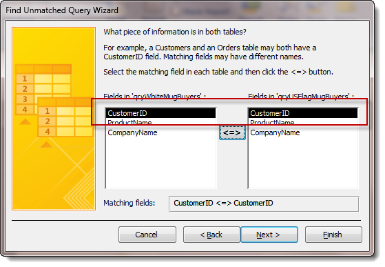 Access Unmatched Query Wizard