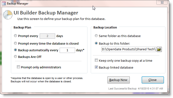 Protect your Access data by automatically backing up on a regular basis